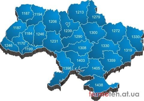 Карта уровня инсоляции Украины